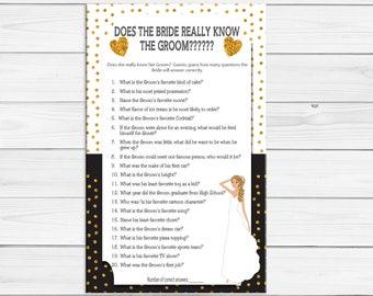 Bride know Groom Bridal Shower Game, Gold Poke-a-dots, Coed Shower Game, Couples Shower Game, D1312