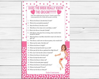 Bride Know Groom Bridal Shower Game, Sexy Bride, Pink Poke-a-Dots, Couples Bridal Shower Game, D799
