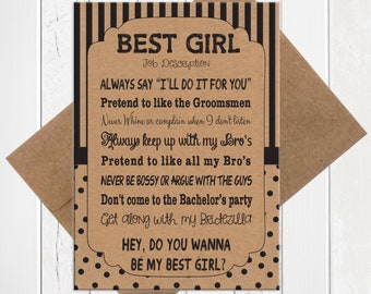 Will You Be My Best Girl Card, Kraft Best Girl Card, Best Girl Proposal Card, Printed Card, D1852