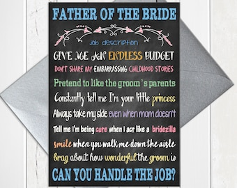 Father of the Bride card, Father of the Bride Job Description, Funny Father of the Bride Card, Printed Card, D274