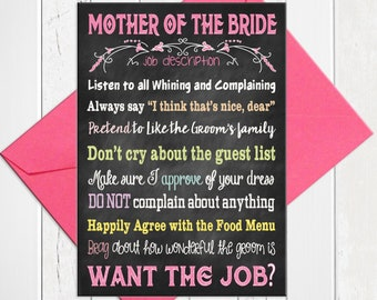 Mother of the Bride Card, Bridal Party Cards, Funny Mother of the Bride Card, Printed Card, D256