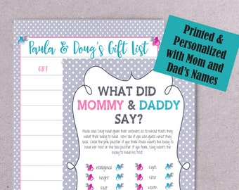 PRINTED What did mommy and daddy say Baby Shower Game, Gray Gender Neutral Baby Shower Game, Couple's Baby Shower Game, P2030