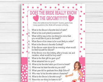 Bride Know Groom Bridal Shower Game, Sexy Bride, Pink Poke-a-Dots, Couples Bridal Shower Game, Engagement Party Game, D799