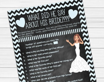 What did he say about his Bride, Bridal Shower Games, Chalkboard Bridal Shower Game, Couples Bridal Shower Game, D619