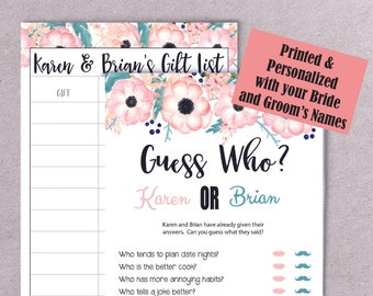 PRINTED Guess Who Bridal Shower Games, Guess Who Shower Game, Couples Shower Game, Engagement Party Game, P2022