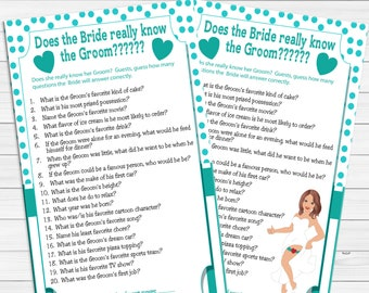 Bride really know the Groom Bridal Shower Game, Wedding Shower Game, Coed Shower Game, Instant Download, D716