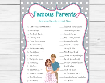 Famous Parents Game, Baby Shower Game, Celebrity Baby Game, Gender Neutral, Pregnant Mommy, Gray, Couples Baby Shower Game, D1721