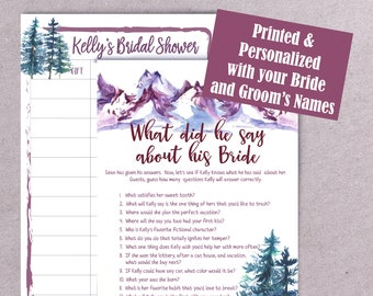 PRINTED Bridal Shower Games, What did he say about his Bride, Couples Shower Game, Engagement Party Game, Wedding Shower Games, P2026