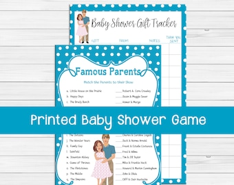 PRINTED Baby Shower Games, Famous Parents Baby Shower Game, Coed Baby Shower Game, Baby Boy Baby Shower Game, D648P
