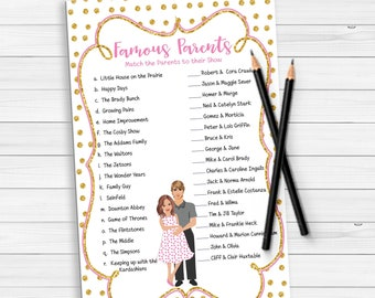 Famous Parents Baby Shower Games, Baby Girl Shower, Gold Baby Shower Games, Coed Baby Shower Games, D1332