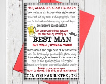 Will You be My Best Man Card / Best Man Proposal Wedding Card / Printed Will you be my Best Man Card / D241