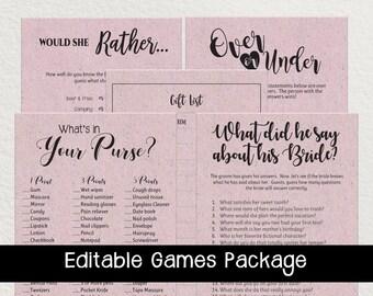 Kraft Bridal Shower Game Bundle Editable . Editable Kraft Paper Shower Games, Lavender Kraft Paper Bridal Shower Game, D1901