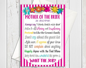 Mother of the Bride Wedding Card / Bridal Announcement Wedding Card / Mother of the Bride Job Description / D856