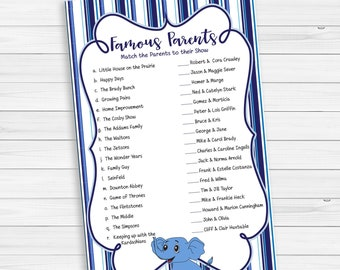 Famous Parents Baby Shower Game, Celebrity Parents Baby Game, Baby Boy Shower Game, Blue, Couples Shower Game, D1558