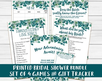 PRINTED Bridal Shower Games, Disney Love Songs, What did he say, Does the Bride know the Groom, Printed Wedding Shower Games, P2025