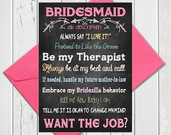 Will You Be My Bridesmaid, Bridesmaid Proposal with Job Description, Funny Chalkboard Bridal Party Proposal, Printed Card, D272