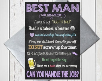 Will You be My Best Man on Chalkboard, Funny Best Man Proposal with Job Description, Printed Card, D245