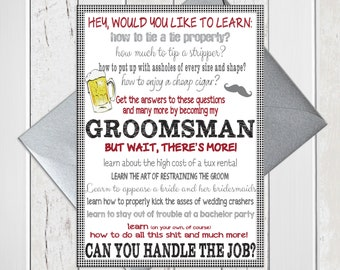 Will You be My Groomsmen Card, Groomsman Proposal, Funny Bridal Party Card, Printed Card, D968