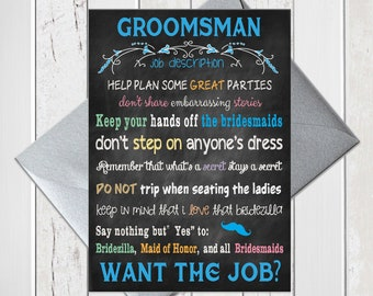 Groomsman Proposal, Will You be My Groomsmen Card, Funny Blue Chalkboard Bridal Party Card, Printed Card, D974