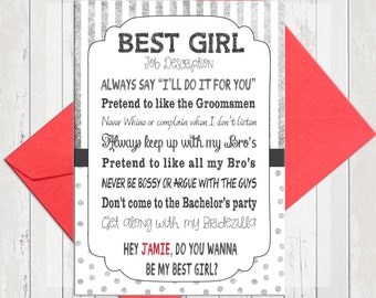 Will You Be My Best Girl Card, Silver Funny Best Girl Card, Personalized Best Girl Card, Printed Card, D1640