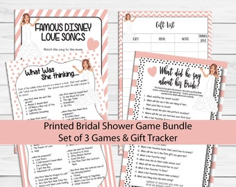 PRINTED Bridal Shower Games, Disney Love Songs, What did he say, What was she Thinking, Printed Wedding Shower Games, P2024