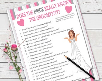 Does the Bride really know the Groom Bridal Shower Game, Pink and Gray Bridal Game, Wedding Shower Game, Couples Shower Game, D786