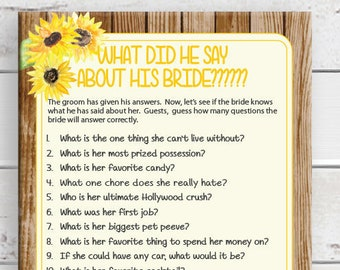 What did he say about his Bride Bridal Shower Game, Sunflowers, Rustic Wood Background, Instant Download, Couples Shower Game, D1730