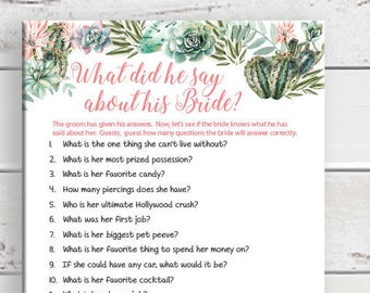 What did he say about his Bride, Wedding Shower Games, Bridal Shower Games, Rustic Wood, Cactus, Succulents, Instant Download, D1747