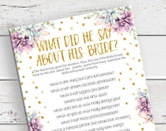 What did he say about his Bride, Wedding Shower Game, Bridal Shower Game, Succulents, Gold, Instant Download, Couples Bridal Shower, D1305