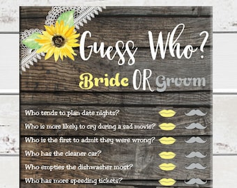 Guess Who Bridal Shower Game, Sunflower Mason Jar Wedding Shower Game, Rustic Couples Shower Game, D1148