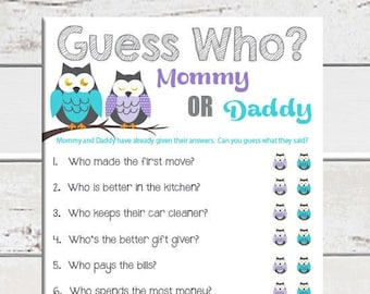 Guess Who Baby Shower Game, Owl Theme, Gender Neutral Baby Shower Game, Blue, Purple, Gray, Couples Shower Game, D987