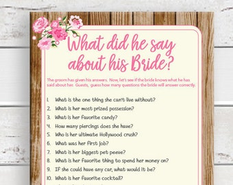 What did he say, Bridal Shower Game, Couples Shower Game, Printable, D1676