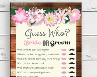 Guess Who Bridal Shower Game, Rustic Shower Games, D1100