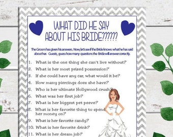 Silver, What did he say about his Bride, Bridal Shower Game, Wedding Shower Game, Couples, Shower Game, Instant Download, D681