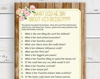 Groom say about Bride, Bridal Shower Game, Gold, What did he say, Flowers, Rustic Wood, Instant Download, Couples Shower Game, D1719