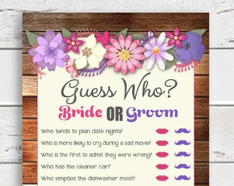Guess Who Bridal Shower Games, Rustic Shower Games, Purple, Floral Bridal Shower, D836
