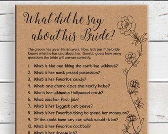 What did he say about his Bride Kraft Paper, Printable Wedding Shower Game, Couples Bridal Shower, D1732