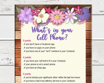 Cell Phone Bridal Shower Game, Bridal Shower Game, Wedding Shower Game, Couples Shower Game, D1501
