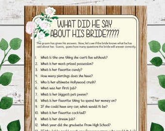 What did he say about his Bride Bridal Shower Game, Floral Bridal Shower, Rustic Shower Games, D1545