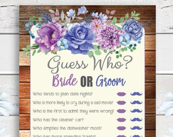 Guess Who Bridal Shower Game, Wedding Shower Game, Floral Bridal Shower, Rustic Shower Games, D1471