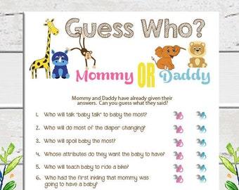 Guess Who Game, Baby Shower Game, Safari Theme, Guess Who Said It, Gender Neutral Baby Shower, Animal Theme Baby Shower, Gift Tracker, D1116