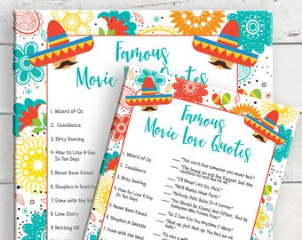 Famous Movie Love Quotes, Bridal Shower Game, Fiesta Theme, Wedding Shower Game, Instant Download, Couples Shower Game, D1763