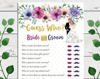Gold, Guess Who, Bridal Shower Game, Purple, Pink, Wedding Shower Game, Floral Theme, Instant Download, Couples Shower Game