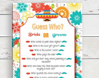 Fiesta, Guess Who Bridal Shower Game, Bridal Shower Game, Wedding Shower Game, Floral Theme, Instant Download, Couples Shower Game, D1588