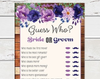 Guess Who Bridal Shower Game, Floral Theme, Rustic Wood, Wedding Shower Game, Couples Shower Game, Engagement Game, D1613
