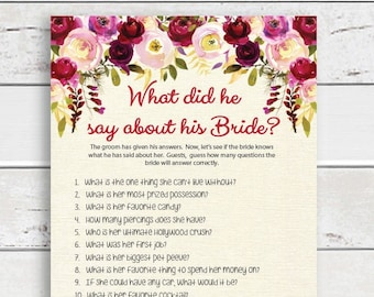 What did he say Bridal Shower Game, Wedding Shower Game, Couples Shower, D1396
