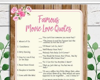 Movie Love Quotes Bridal Shower Game, Rustic Bridal Shower Game, Couples Shower Game, D1162