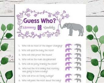 Guess Who Baby Shower Game, Gender Neutral Baby Shower, Purple, Who Said It, Elephant Baby Shower, Couple's Baby Shower, D1601