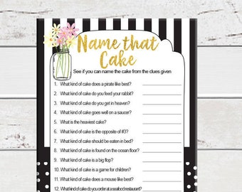 Cake Game Bridal Shower Game, Name that Cake, Black and White Shower Game, Wedding Shower Game, Couples Shower Game, D1103