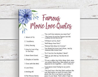 Movie Love Quotes Wedding Shower Game, Bridal Shower Games, Couples Shower Game, D1710